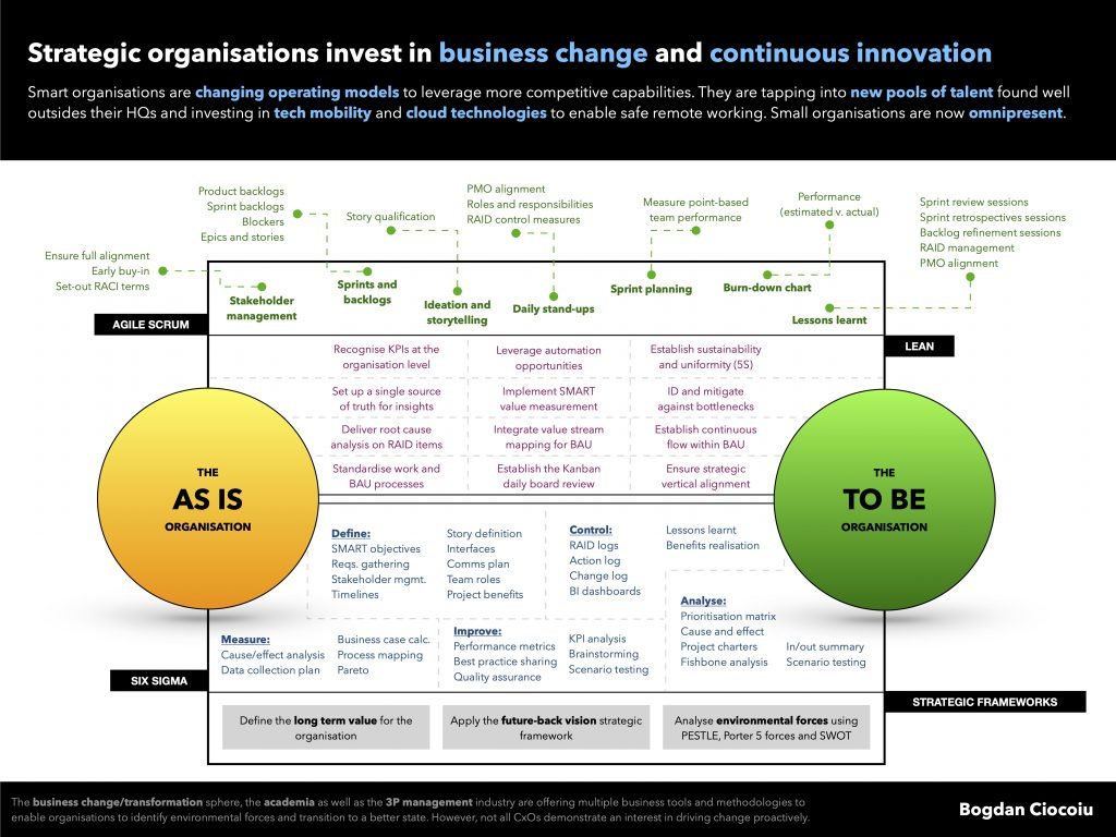 Strategic organisations invest in business change and continuous innovation - Bogdan Ciocoiu